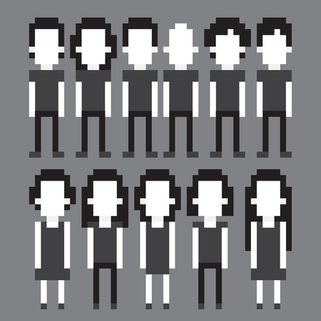 Set of black and white pixel art people icons, vector illustration Vector
