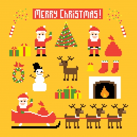 bit: Pixel art set of icons with Santa, deers, snowman, christmas tree and other Christmas symbols