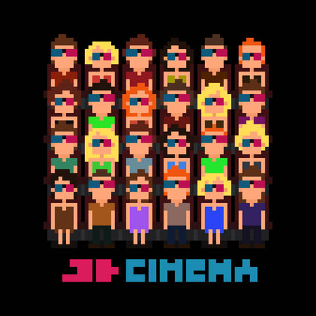 theater audience: Set of pixel art people watching 3d movie, vector illustration Illustration
