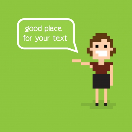 Pixel office woman staying alone and greeting with speech bubble