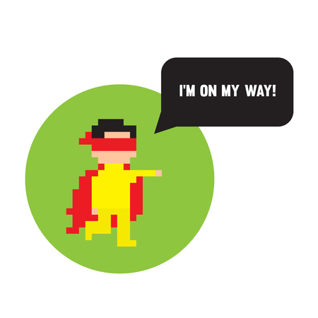 pretend: Pixel art hero ready to help Illustration