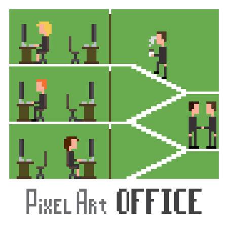 Pixel art scene demonstrating office life, vector illustration