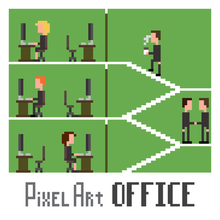 8bit: Scena artistica Pixel dimostrando la vita in ufficio, illustrazione vettoriale