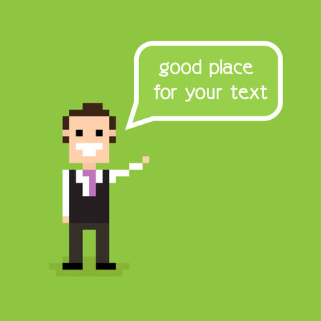 Pixel office man staying alone and greeting with speech bubble Vector