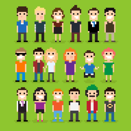 Set of different pixel people, vector illustration Vector