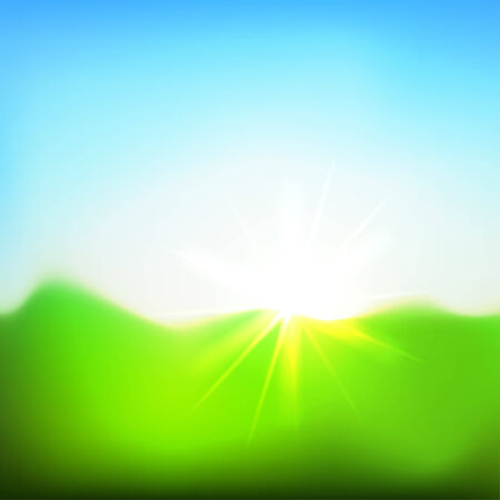 Bright sun under the green meadow