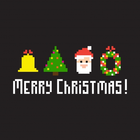 bit: Pixel art background with Christmas symbols Illustration
