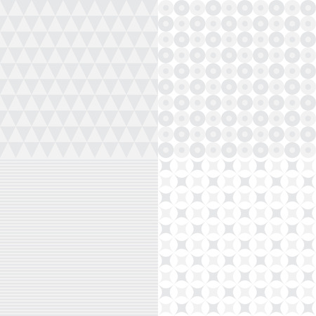 Set of four seamless light background patterns, vector illustration Vectores