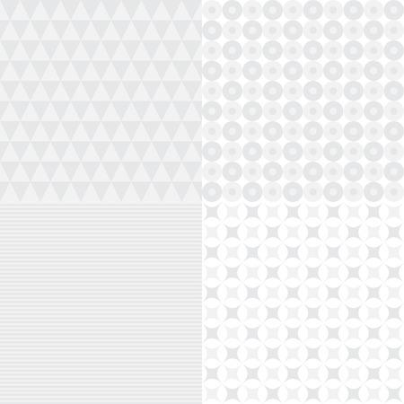 Set of four seamless light background patterns, vector illustration Illustration