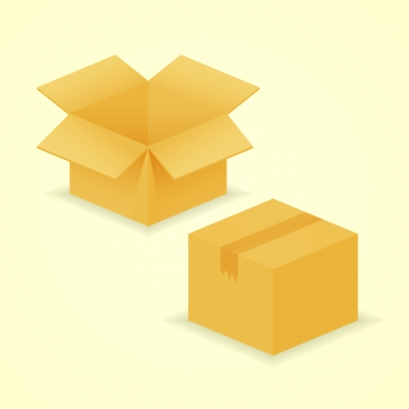 Opened and closed box, two realistic icons Vector