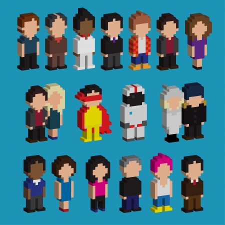 pixel art: Set of pixel art 3d people icons, vector illustration