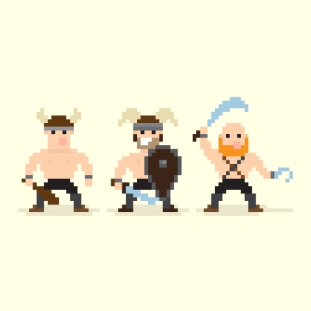 Three pixel art barbarian characters standing in different stances Vector