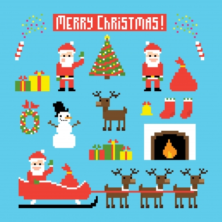 Pixel art set of icons with Santa, deers, snowman, christmas tree and other Christmas symbols
