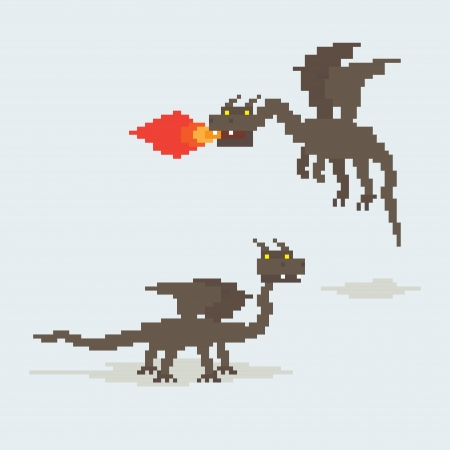 Pixel art dragons. Flying and throwing fire by  his mouth and walking Vector