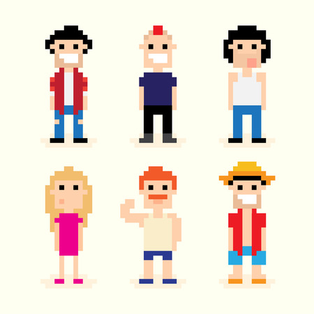 Set of different pixel art characters 矢量图像