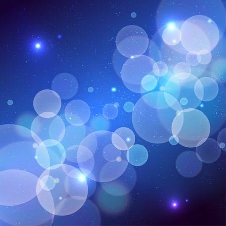 Abstract vector cosmos background with many transparent circles or bubbles Иллюстрация