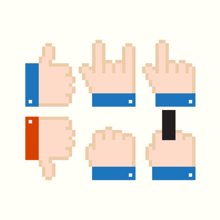 middle finger: Set of pixel art colored isolated cursor icons with hands