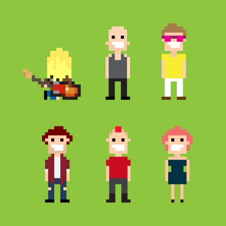 Pixel art guitar player and people Vector