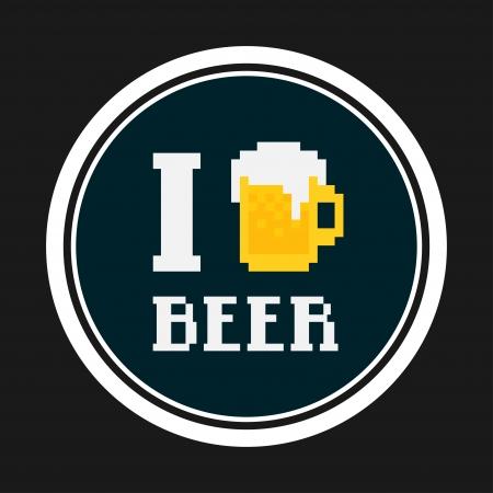 beer background: Pixel art I love beer background