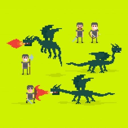 fantasy warrior: Pixel art warriors and flying fire belching dragon