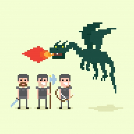 Pixel art warriors and flying fire belching dragon