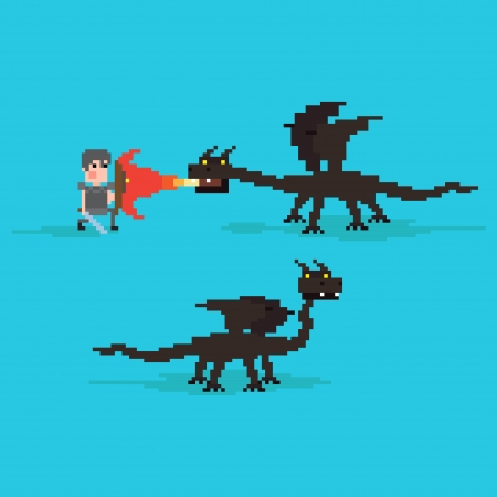 rpg: Pixel art warrior fighting against the dragon