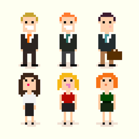 Set of pixel art office people in suits, vector illustration