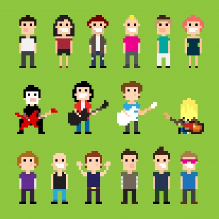 Pixel art guitar players and people Vector