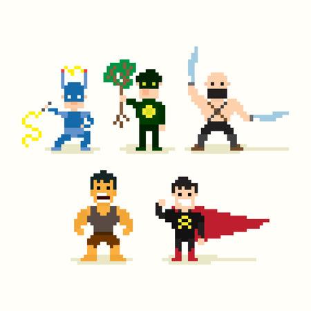 8 bit: Conjunto de los p�xeles de arte superh�roes posando Vectores