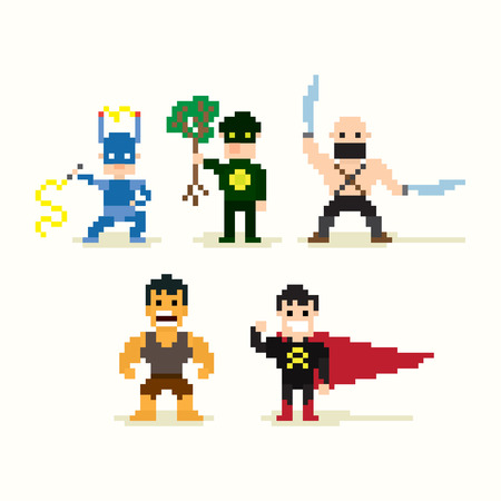 character of people: Set of pixel art posing superheroes Illustration