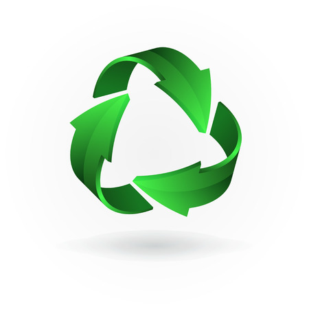 Green arrows. Recycling symbol isolated on white background