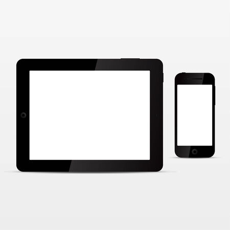 Realistic tablet and smart phone with empty white screen Vector