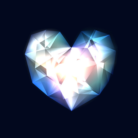 Background with transparent glowing heart, consist of many triangles Vector