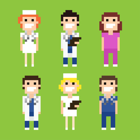 Pixel art characters of doctors and nurses Stock Illustratie