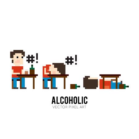 ivresse: caract�re Pixel art assis � la table, de boire et de jure, de dormir sur la table et dormir sous la table Illustration
