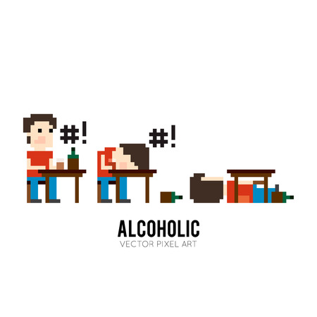 swear: Pixel art character sitting at the table, drinking and swears, sleeping on the table and sleeping under the table