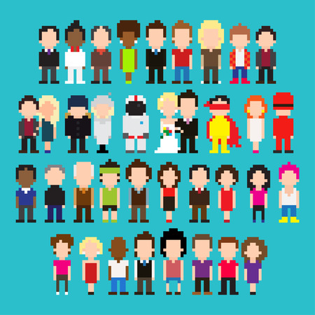 Big set of pixel art people