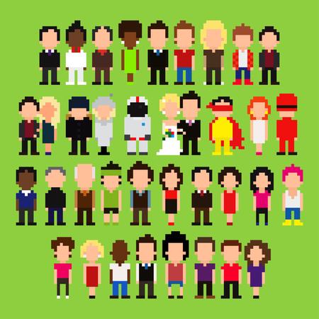 Big set of pixel art people Фото со стока - 36807549