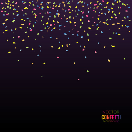 Abstract black background with falling confetti Vectores