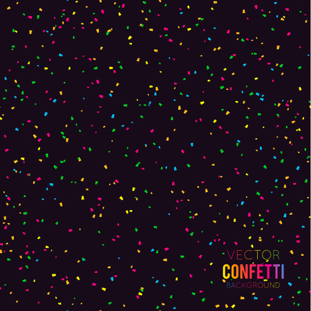 Abstract black background with falling confetti Stock Illustratie
