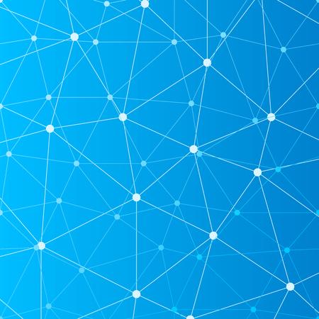 Abstracte blauwe naadloze achtergrond met veel aangesloten witte stippen Vector Illustratie