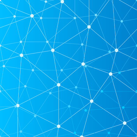 Abstract blue seamless background with many connected white dots Vectores