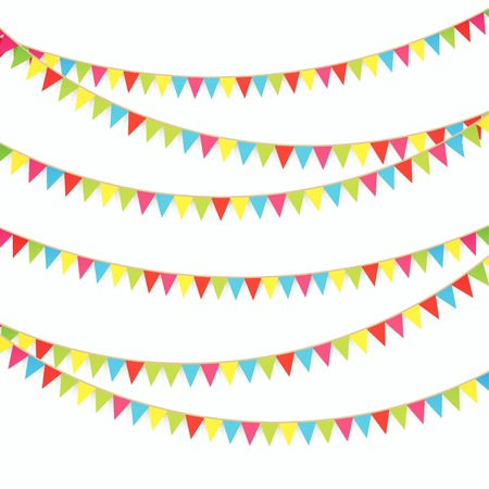 Bright flags on white background Stock Illustratie