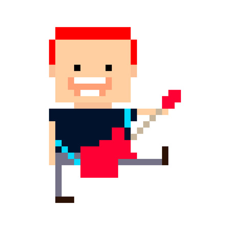 Pixel art red haired guitar player. smiling and jumping with red guitar