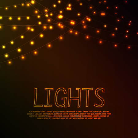 Abstract background with golden glowing lights Ilustrace