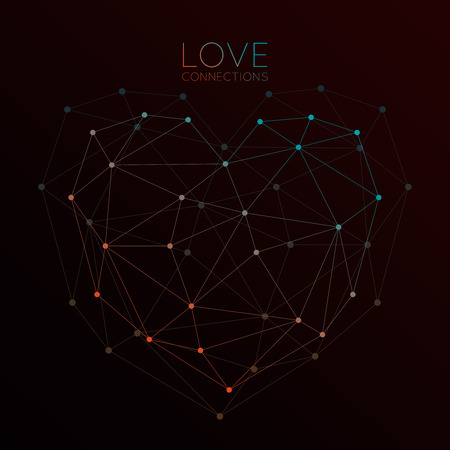 Heart made with connected dots,  triangles dark background Vector