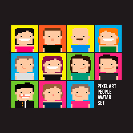 Set of bright pixel art people avatars 矢量图像