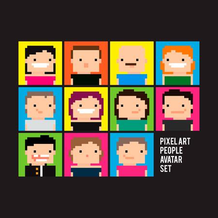 Set of bright pixel art people avatars Stock Illustratie