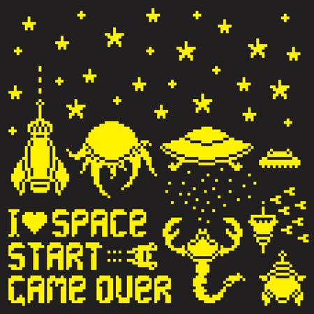 Set of pixel art space and aliens icons