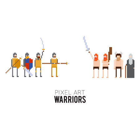 Pixel art medieval warriors and barbarians ready to fight